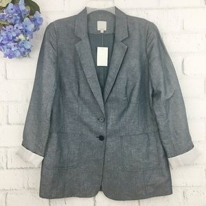 NWOT Halogen 2 Button Blazer Linen Blend